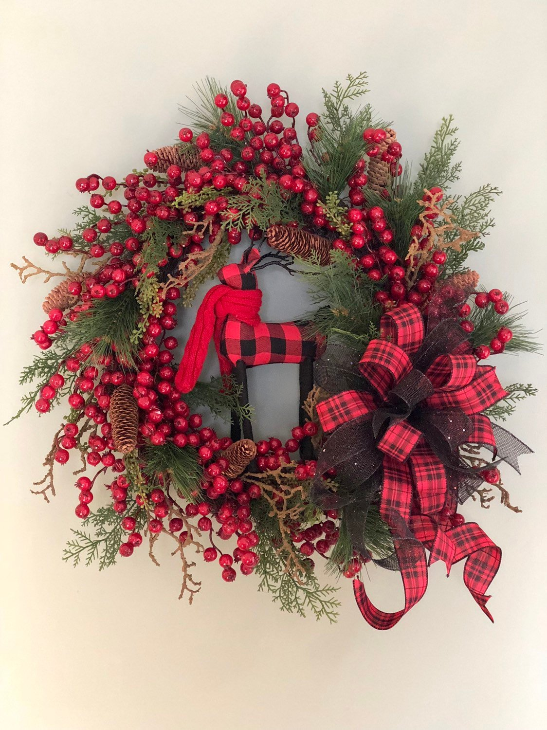 Buffalo Check Christmas Wreath.The Fawn Red Black Mixed Pine Berry Christmas Wreath