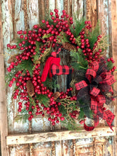 Load image into Gallery viewer, The Fawn Red & Black Mixed Pine Berry Christmas Wreath For Front Door~Buffalo check reindeer wreath~rustic cabin wreath~winter wreath