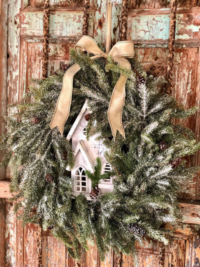 The Karen Winter Woodland Iced Christmas Wreath For Front Door~Snowy Church Wreath~Rustic Farmhouse wreath~Cabin decor~Xmas Wreath