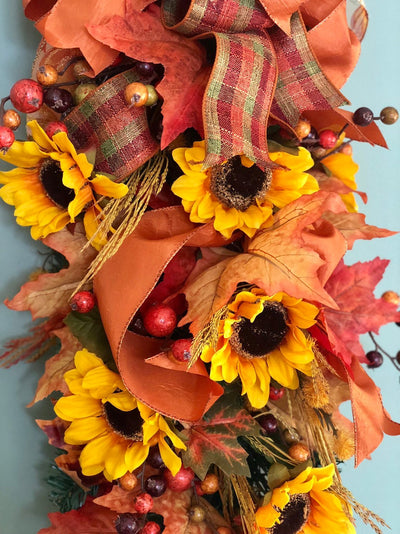 The Alyssa Fall Mailbox Swag~autumn swag for front door~orange and copper fall mailbox decorations~home decor~sunflower swag