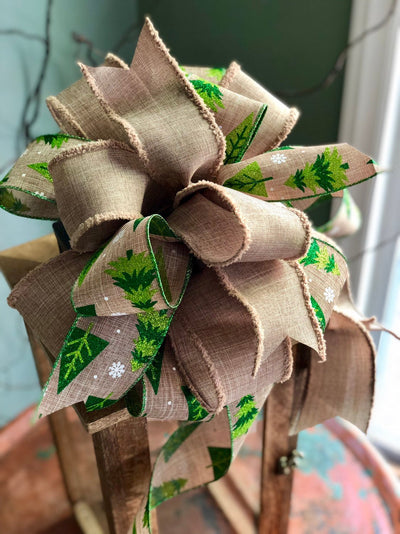The Terri Green & Tan Rustic Christmas Tree Topper Bow~xmas bow for wreaths~lantern bow~swag bow~mailbox bow~natural christmas tree bow