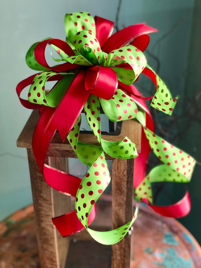 The Sarah Red & Green Polka Dot Christmas Bow For Wreaths and Lanterns~mailbox bow~swag bow~bow with streamers~Grinch Bow