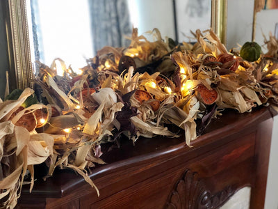 The Ginevra Rustic Farmhouse Fall Corn Husk Garland For Mantle~Tabletop Garland centerpiece~over door primitive garland~farmhouse decor