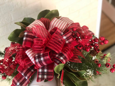 The Melanie Red Christmas Mailbox Swag~Farmhouse swag~Window swag~Rustic natural Christmas mailbox swag~Mailbox decor