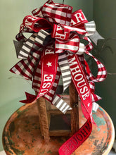 Load image into Gallery viewer, The Dorothy Red Gray & White Farmhouse Christmas Tree Topper bow~Checkered xmas bow for wreaths~large bow for lanterns~Bow long streamers
