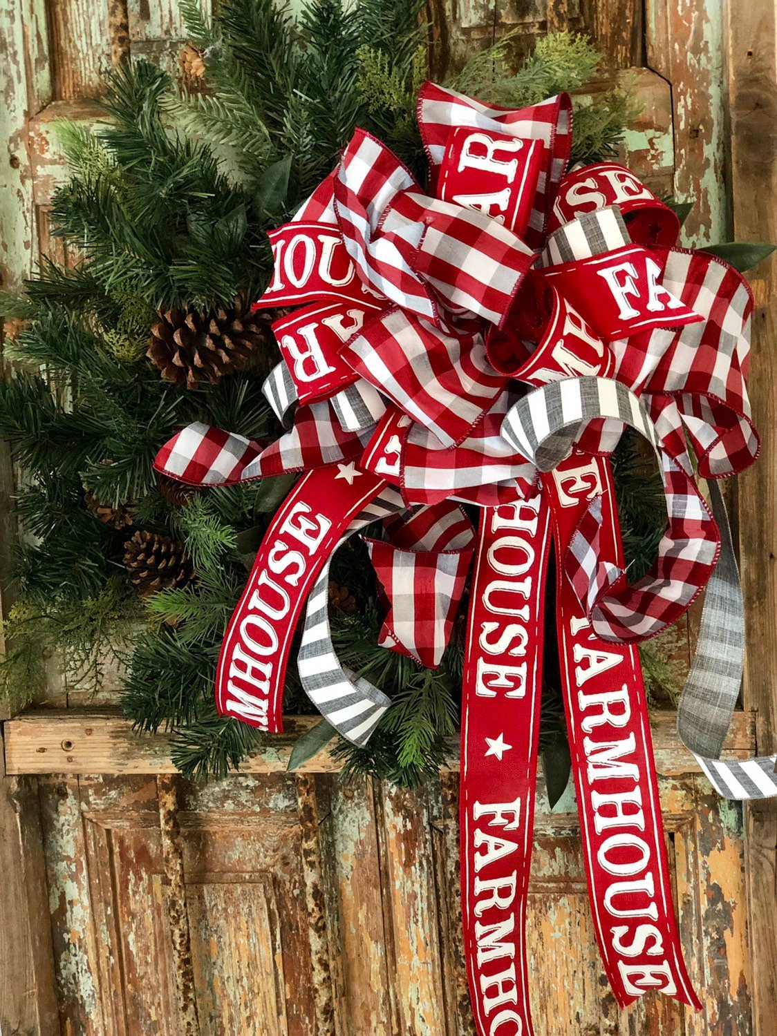 The Dorothy Red Gray & White Farmhouse Christmas Tree Topper Bow - Crested Perch