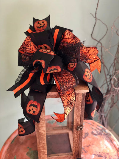 The Minerva Black and Orange Halloween Spiderweb Bow~bow for wreaths~lantern bow~mailbox bow~polka dot bow~spooky bow~creepy bow~spider bow