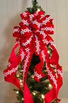The Marilyn Red Velvet Snowflake Christmas Tree Topper Bow~Large red velvet bow~extra long streamers~ribbon topper~large bow for wreaths