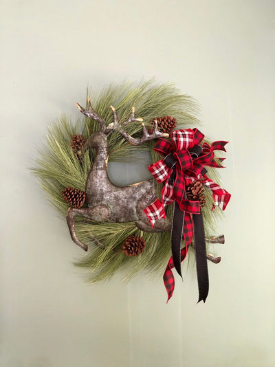 The Caribou Lodge Style Christmas Wreath For Front Door~Farmhouse rustic red & black wreath~Winter Reindeer Wreath~buffalo check wreath