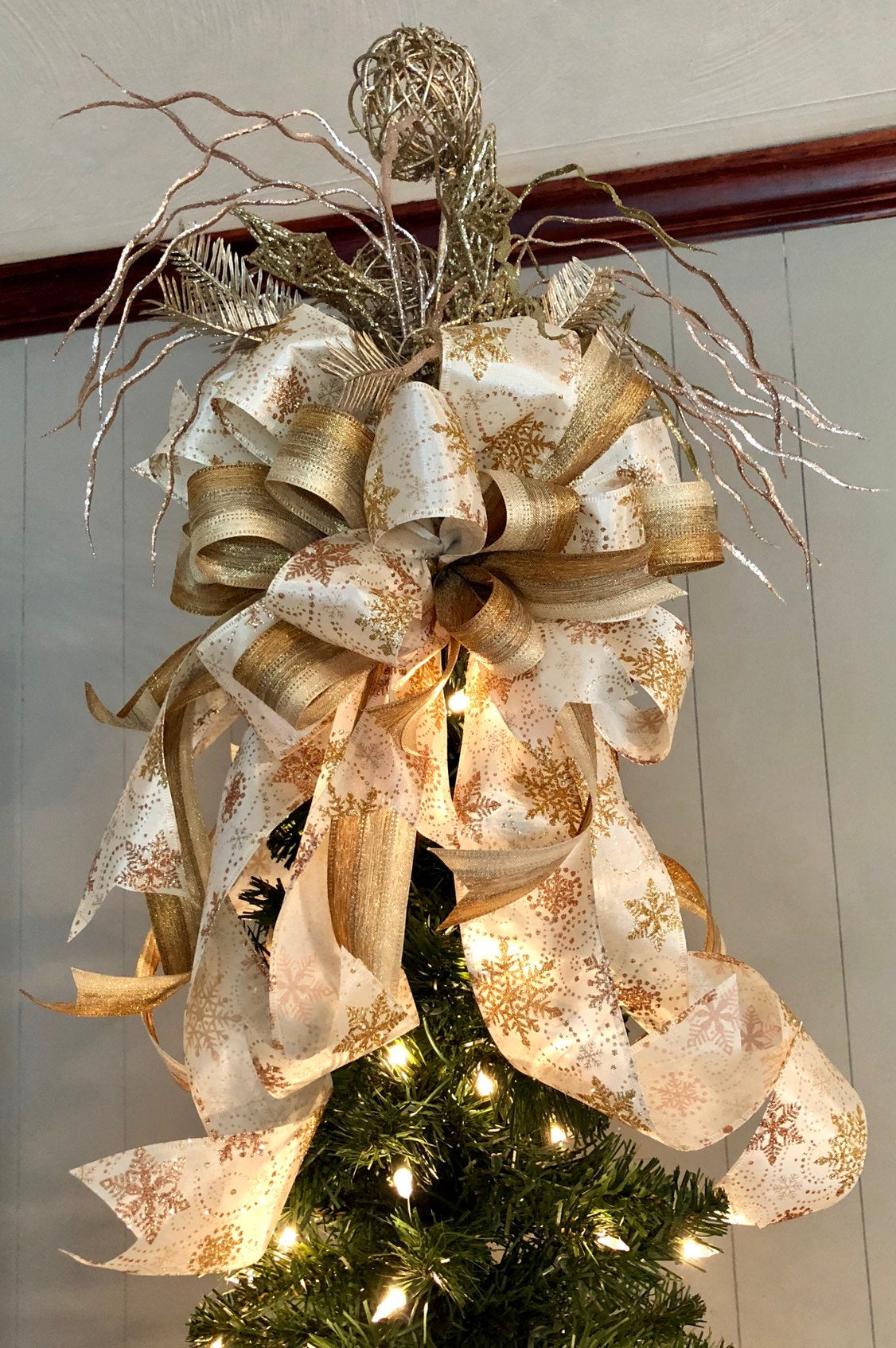 The Trina White Gold Christmas Tree Topper Crested Perch