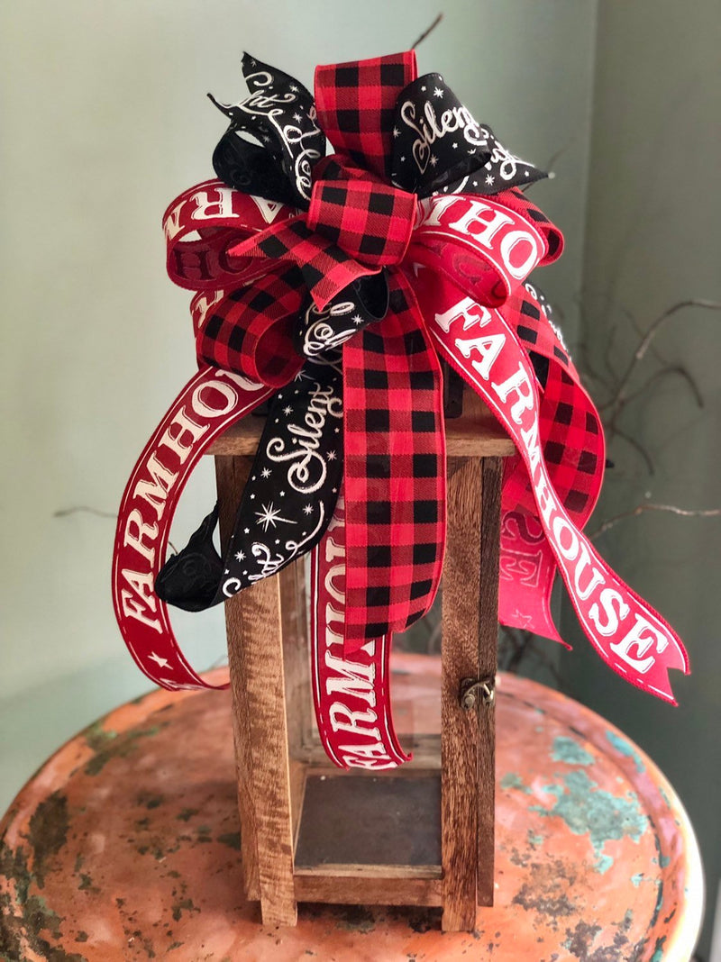 The Cathy Red White & Black Farmhouse Christmas Tree Topper Bow~buffalo check wreath bow~bow for lanterns~mailbox bow