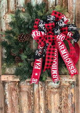 Load image into Gallery viewer, The Cathy Red White & Black Farmhouse Christmas Tree Topper Bow~buffalo check wreath bow~bow for lanterns~mailbox bow