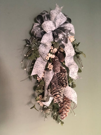 The Seraphine Silver & Gray Winter Snowy Christmas Swag for front Door~Rustic natural christmas swag~iced swag~wreath for front door