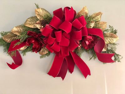 The Harlow Brick Red Magnolia Christmas Swag~Swag for front door~Winter cedar swag~Pine arrangement~large swag for door and mantle
