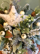 Load image into Gallery viewer, The Rosaleen Rustic Farmhouse Christmas Centerpiece For Table~woodsy snowy arrangement with star~Winter Cabin centerpiece~white arrangement