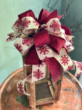 Load image into Gallery viewer, The Rita Cranberry Red & Tan Christmas Tree Topper Bow~bow for wreaths~xmas bow for lanterns~mailbox bow~bow with streamers~swag bow