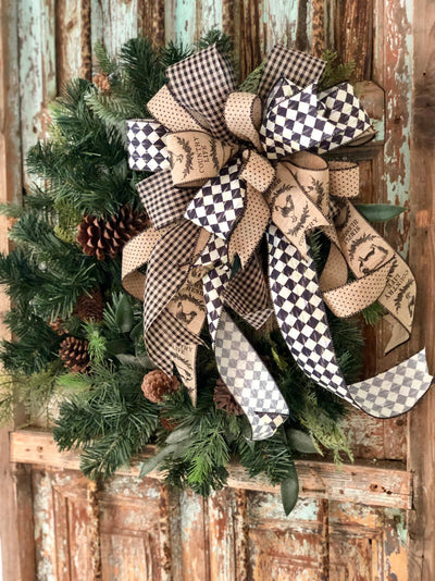 The Harper Beige & Black Farmhouse Bow For Wreaths and lanterns~primitive bow for lanterns~mailbox bow~bow with streamers~country gingham
