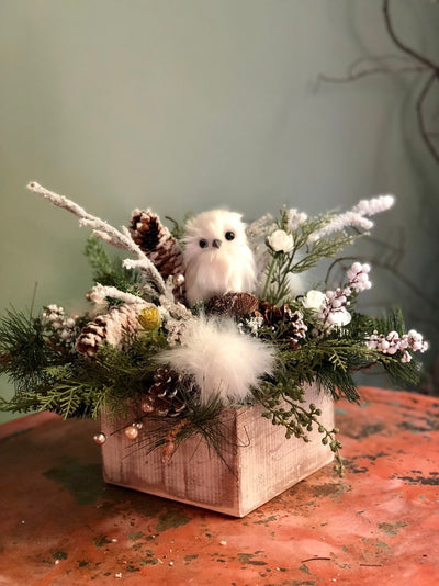 The Emma Farmhouse Christmas Centerpiece For Table~Rustic Arrangement with snowy owl~Winter Cabin centerpiece~iced Pine arrangement