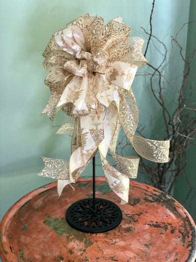The Blitzen White & Gold Christmas Tree Topper Bow~bow for wreaths~xmas bow for lantern~mailbox bow~bow with streamers~Large gold silver bow