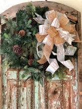 Load image into Gallery viewer, The Carrie Gold & White Christmas Tree Topper Bow With Long Streamers~Lantern bow~swag bow~mailbox bow~large bow for wreaths~christmas deco