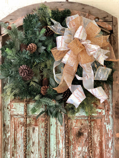 The Carrie Gold & White Christmas Tree Topper Bow With Long Streamers~Lantern bow~swag bow~mailbox bow~large bow for wreaths~christmas deco