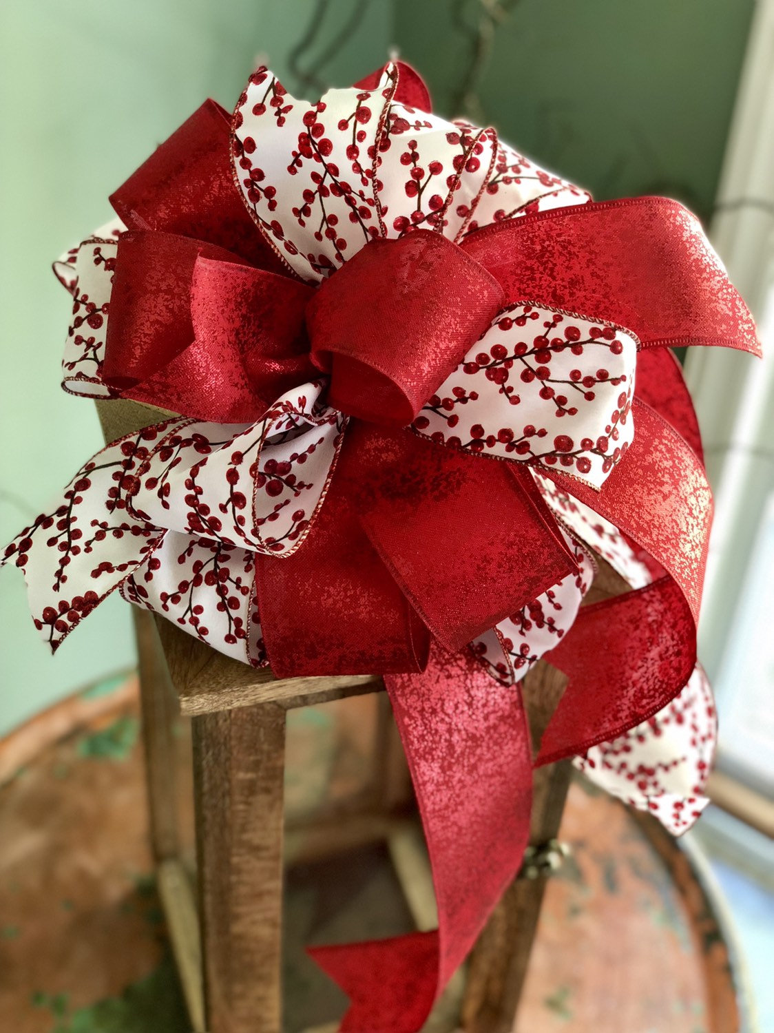 The Cherry Red & White Christmas Tree Topper Bow - Crested Perch