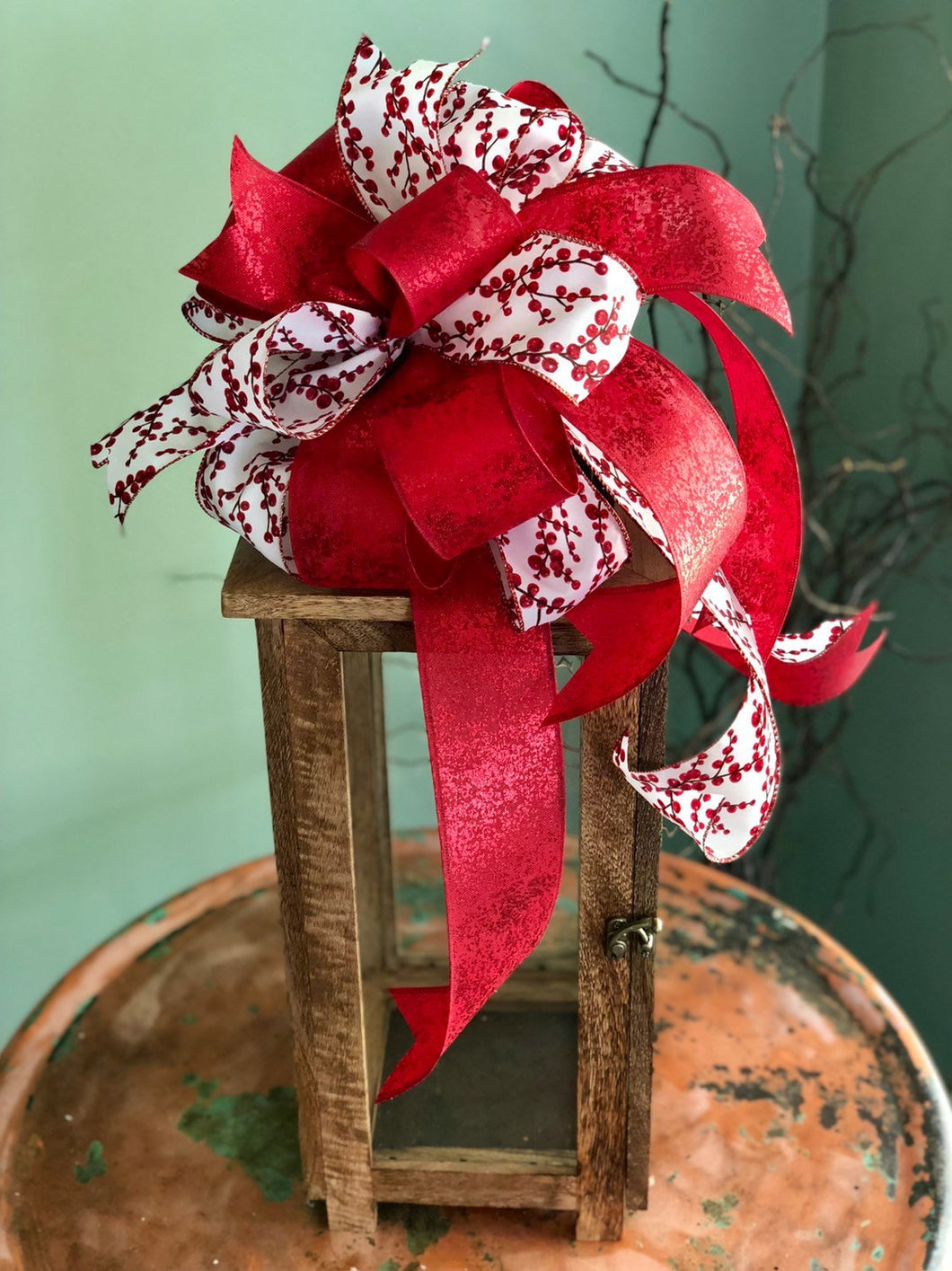 The Cherry Red & White Christmas tree topper bow~bow for wreaths~swag bow~ribbon topper~large lantern bow~bow with streamers~mailbox bow
