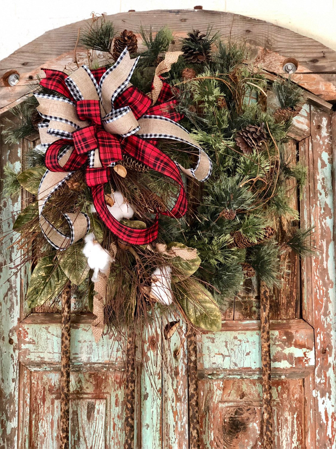 The Sophie Rustic Farmhouse Christmas Wreath Crested Perch