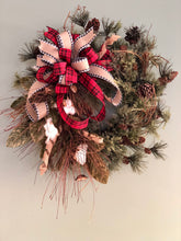 Load image into Gallery viewer, The Sophie Rustic Farmhouse Christmas wreath for front door~natural style pine wreath~winter cabin wreath~cotton primitive wreath