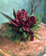 Load image into Gallery viewer, The Ruby Red & Black Buffalo Check Farmhouse Christmas Centerpiece For Table~Rustic Arrangement~Cabin centerpiece~PoinsettiaPine arrangement