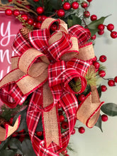 Load image into Gallery viewer, The Althea Pine Merry Christmas Y'all Wreath For Front Door~Farmhouse rustic red wreath~berry wreath~all season wreath~pine and plaid wreath