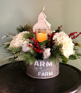 The Elisa Farmhouse Christmas Centerpiece For Table~White iced berry cotton arrangement~Winter Cabin centerpiece~Flocked Pine arrangement