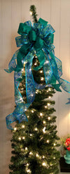 The Esmerelda Blue & Green Peacock Christmas Tree Topper bow~Teal bow for wreaths~xmas bow for lanterns~mailbox bow~bow with streamers