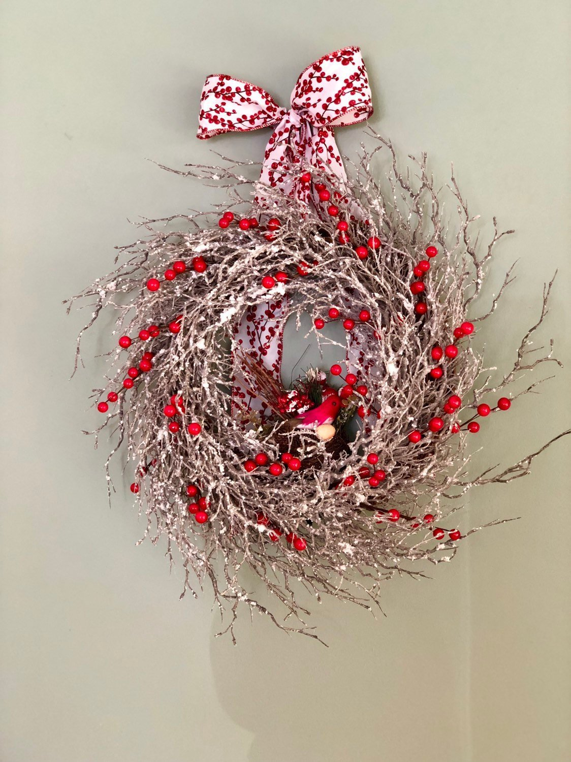 The Avery Iced Red Berry Wreath For Front Door~Farmhouse rustic woodland wreath~winter iced wreath~Cabin wreath iced branches cardinal