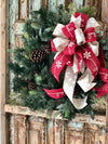 The Krista cranberry & tan snowflake Christmas tree topper bow~lantern bow~bow for wreaths~mailbox bow~swag bow~long streamers xmas bow