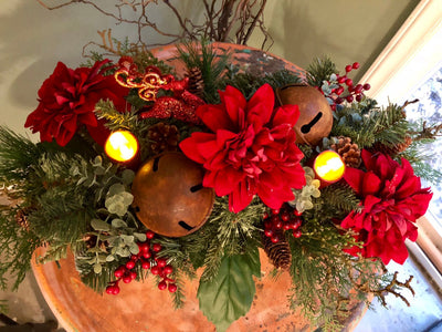 The Helen Cranberry Red Christmas Arrangement For Dining Tables~Large Farmhouse centerpiece for long table~Pine centerpiece with rustic bell