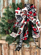 Load image into Gallery viewer, The Reba Red Black & White Farmhouse Lantern Bow~Tractor Bow for wreaths~Swag bow~Bow for wreaths~long streamer bow
