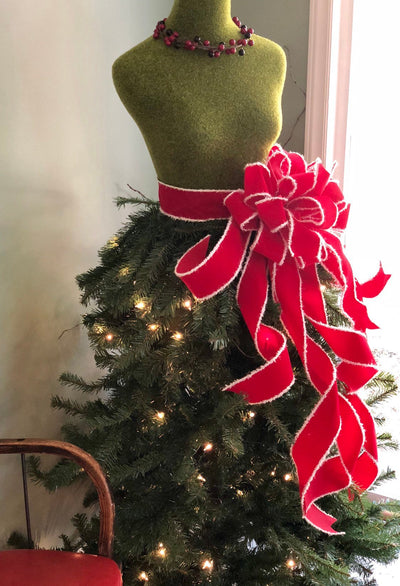 The Roxie Dress Form Pre-lit Christmas Tree~Mannequin Christmas Tree~Unique artificial 5 foot tree with lights and designer santa bow