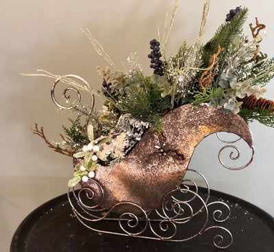 The Blitzen Silver Woodland Sleigh Christmas Centerpiece For Table~Elegant rustic winter sleigh arrangement~Snowy glitter centerpiece