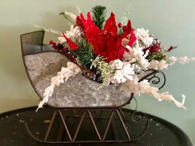 The Rudolph Red & White Christmas Sleigh Centerpiece For Dining Table~Poinsettia arrangement for kitchen~galvanized metal sleigh floral