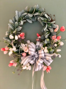 The Antoinette Lambs Ear and Tulip Spring Valentine Wreath for front door~farmhouse wreath, rustic cabin wreath, bridal wreath, wedding