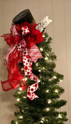 The Muriel Red & White Polka Dot Christmas Tree Topper Hat~Top hat for tree~Christmas tree topper bow with long streamers