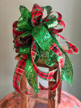 Load image into Gallery viewer, The Francine Red Green & Gold Plaid Christmas Tree Topper Bow~Traditional Christmas bow for wreaths~mailbox bow~lantern bow~swag bow