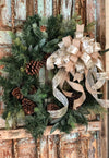 The Jennifer Gold Christmas Bow For Wreaths & Lanterns~Mailbox bow~Swag Bow~lamppost bow~elegant gold xmas bow with long streamers