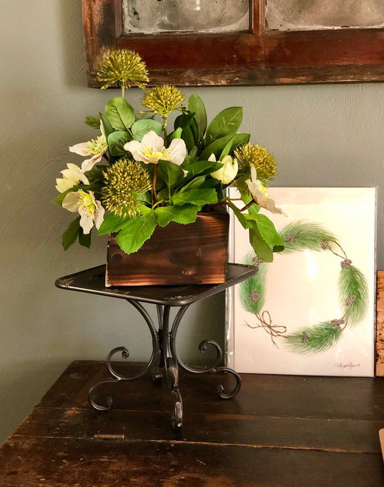 The Elysium Rustic Farmhouse Spring Centerpiece For Table~All season Cabin~Natural green arrangement~white hellebore winter wedding florals