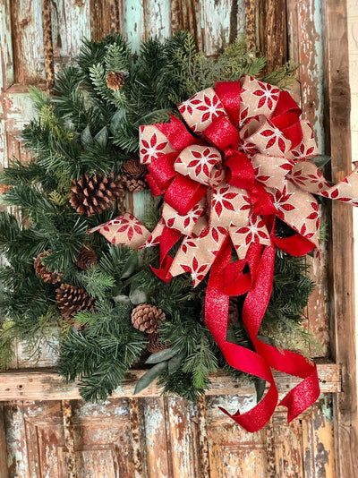 The Monica Red White & Tan Christmas Tree Topper Bow~Poinsettia bow for wreaths~xmas bow for lantern