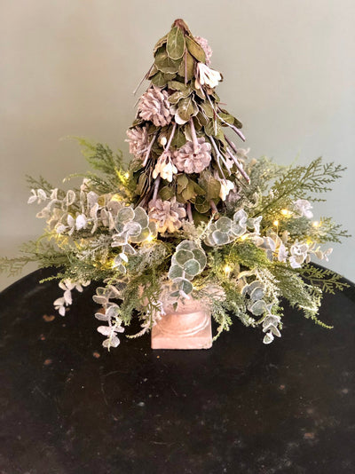 The Meagan Silver Green And Gray Mini Christmas Tree Centerpiece For Table~Winter woodland tree arrangement~elegant xmas centerpiece~natural