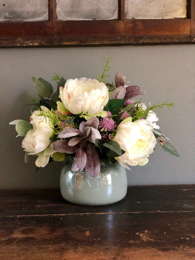 The Camilla Spring Garden Peony Centerpiece For Table~All season natural white green lavender arrangement~wedding florals~wedding decor