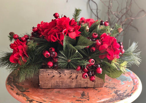 The Blythe Red Hydrangea & Berry Christmas Centerpiece For Table~Rustic elegant farmhouse arrangement~xmas centerpiece~Tabletop arrangement