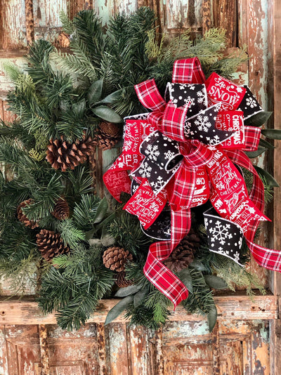 The Judy Red Black & White Farmhouse Christmas Tree Topper Bow~xmas bow for wreaths~Snowflake plaid bow for lanterns~Mailbox bow~swag bow